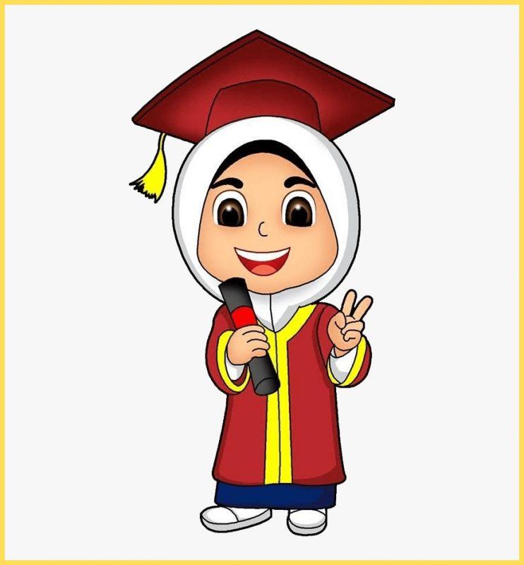 gambar kartun lucu muslimah wisuda