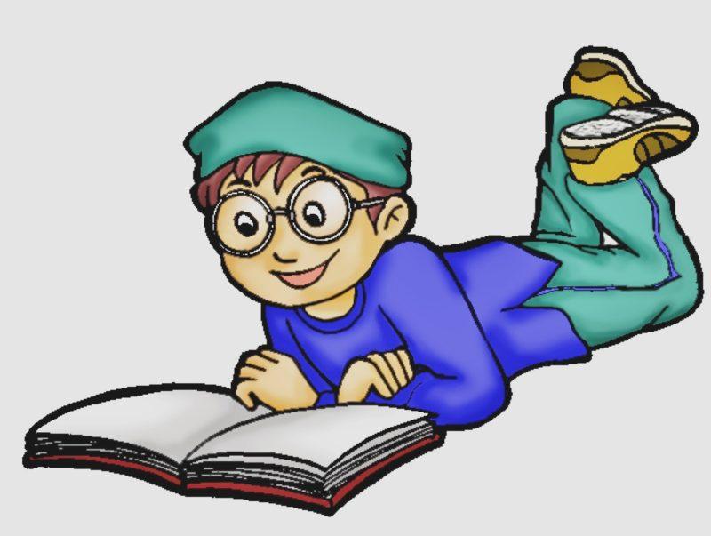 gambar kartun membaca keren