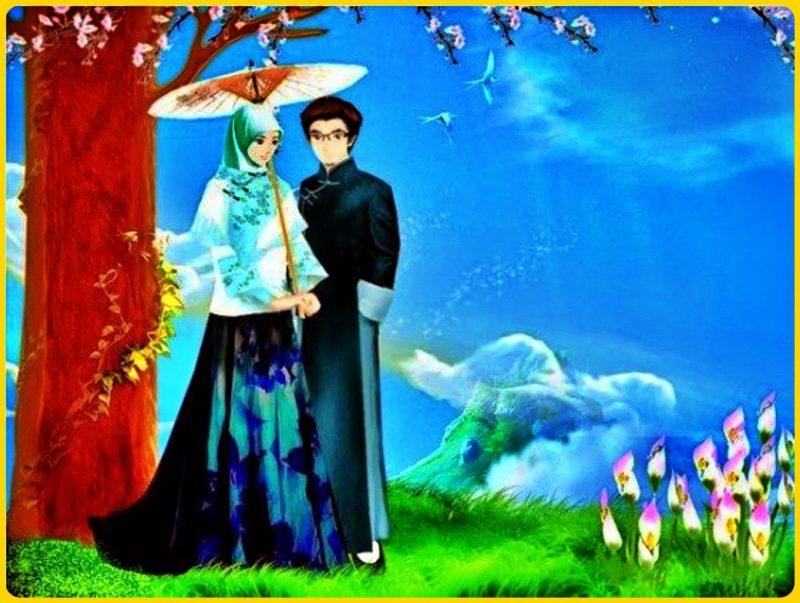 gambar kartun muslim dan muslimah di jepang