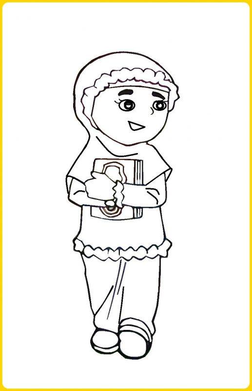 gambar kartun muslimah anak sekolah