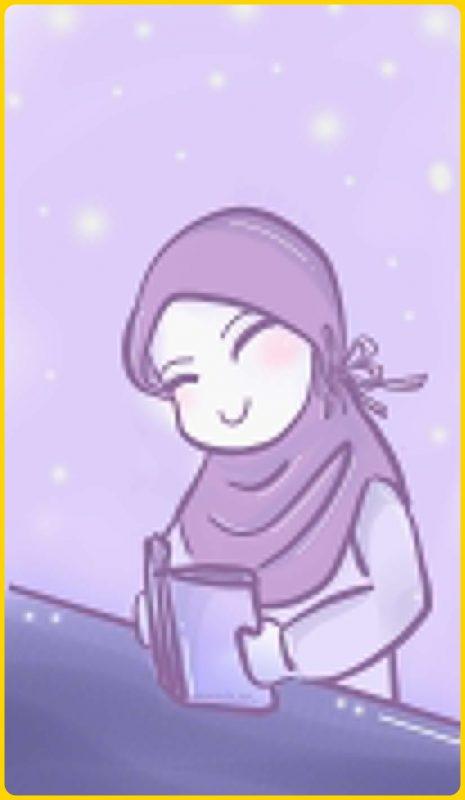 gambar kartun muslimah belajar