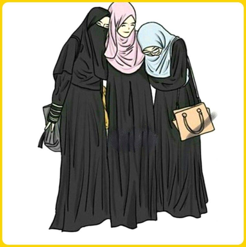 gambar kartun muslimah bersahabat