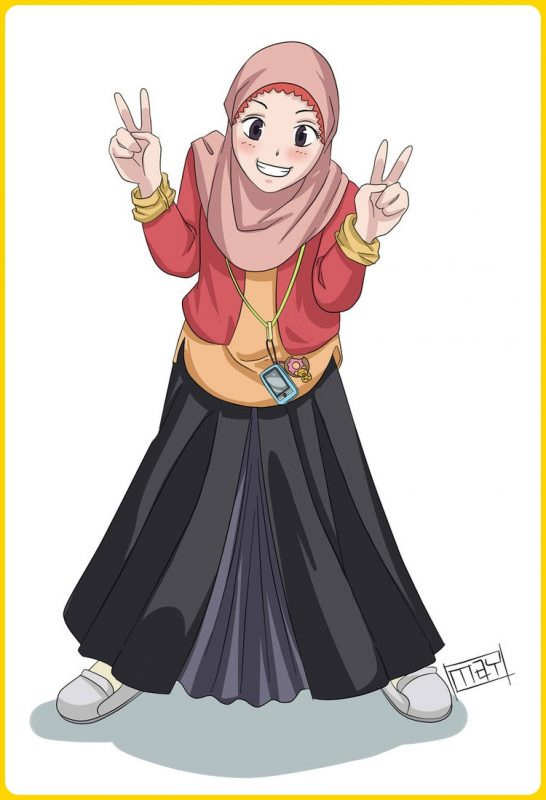 gambar kartun muslimah comel