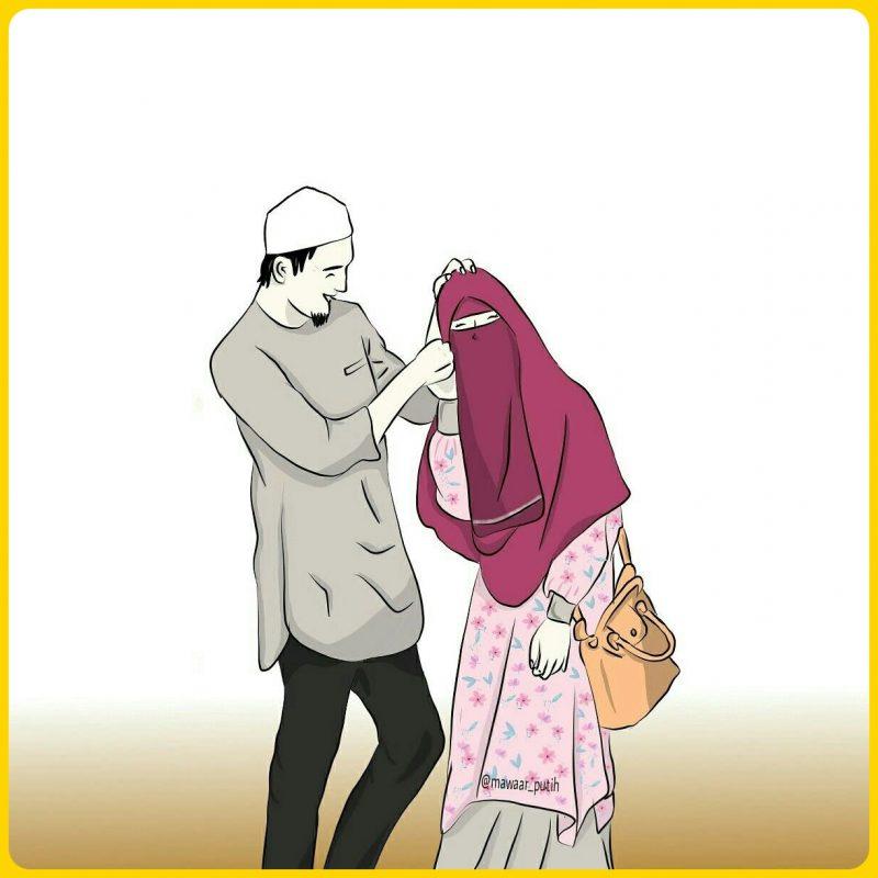 gambar kartun muslimah couple