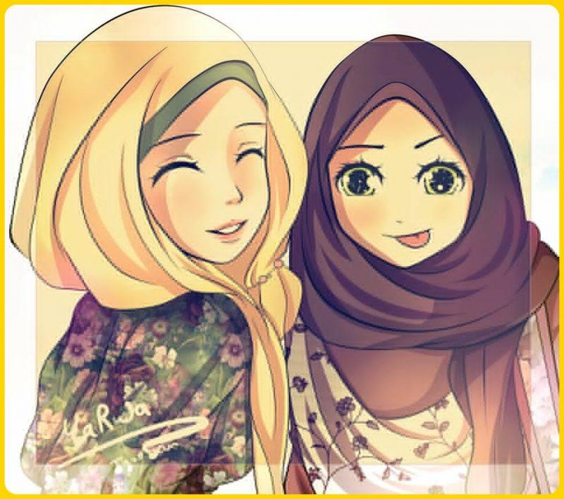 gambar kartun muslimah imut
