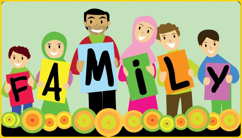 gambar kartun muslimah keluarga