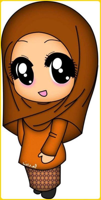 gambar kartun muslimah lucu dengan kearifan lokal