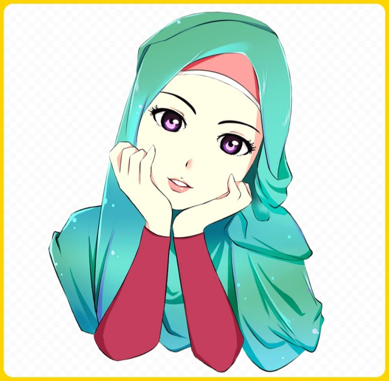 gambar kartun muslimah melamun