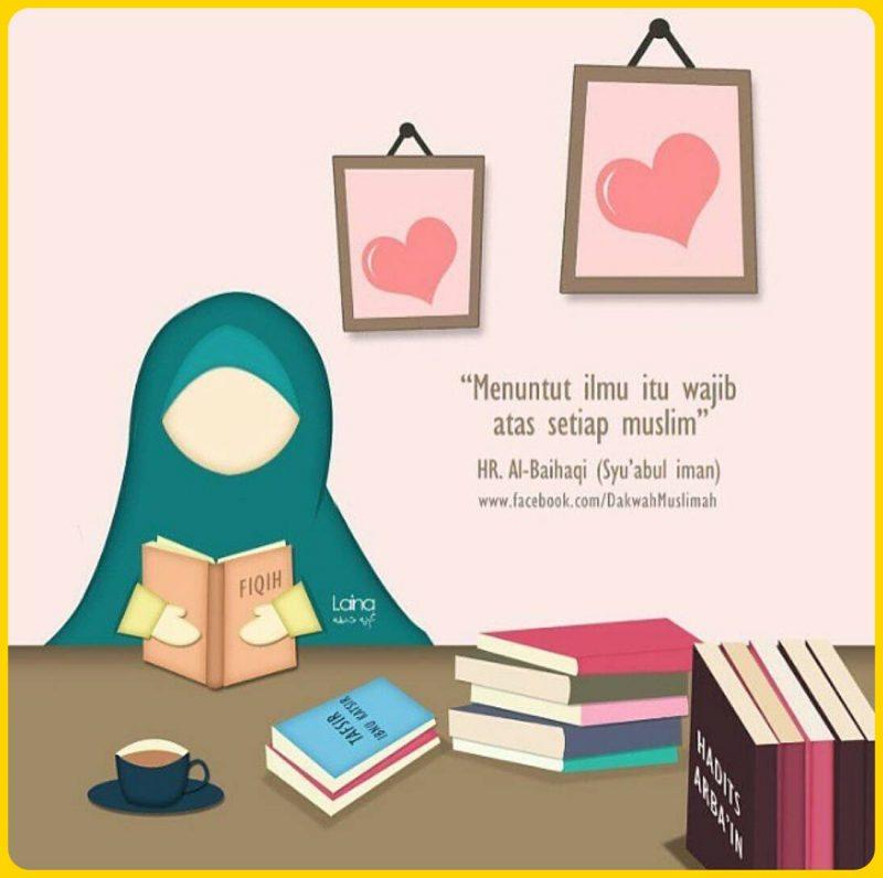 gambar kartun muslimah membaca buku