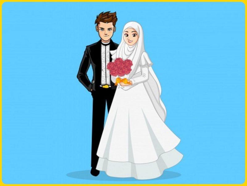 gambar kartun muslimah menikah