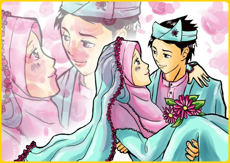 gambar kartun pengantin muslim