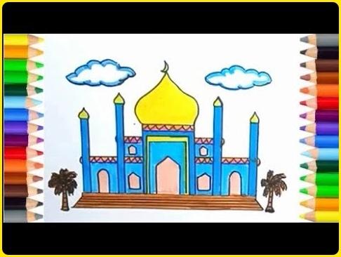 gambar masjid kartun berwarna cerah