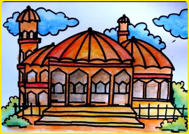 gambar masjid kartun berwarna dengan tangga