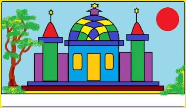gambar masjid kartun berwarna