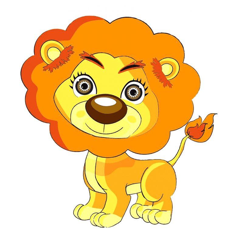 gambar singa kartun bermata cantik