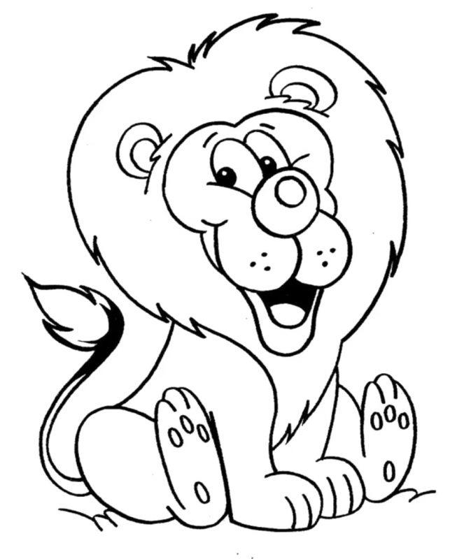 gambar singa kartun mudah