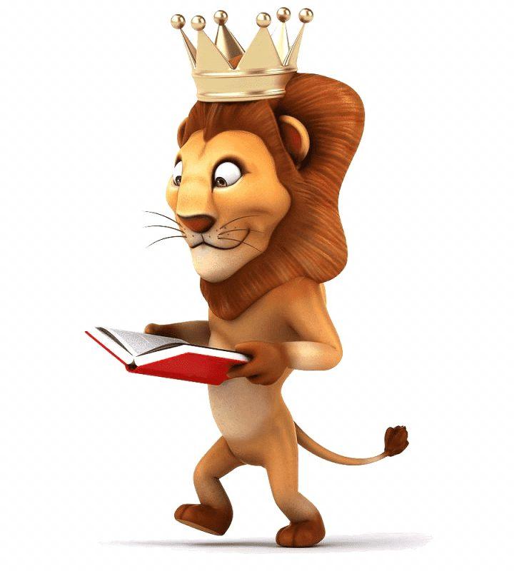gambar singa membaca buku