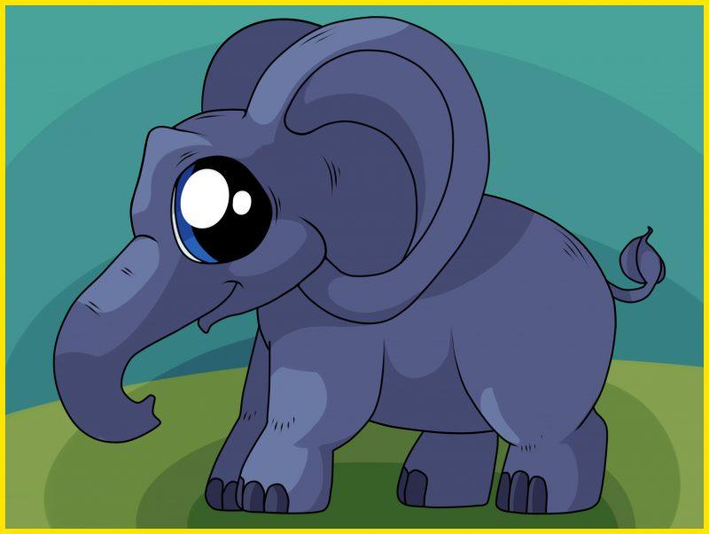 gambar sketsa gajah berwarna