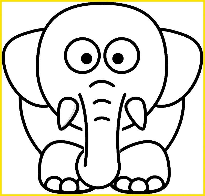 gambar sketsa gajah hitam putih