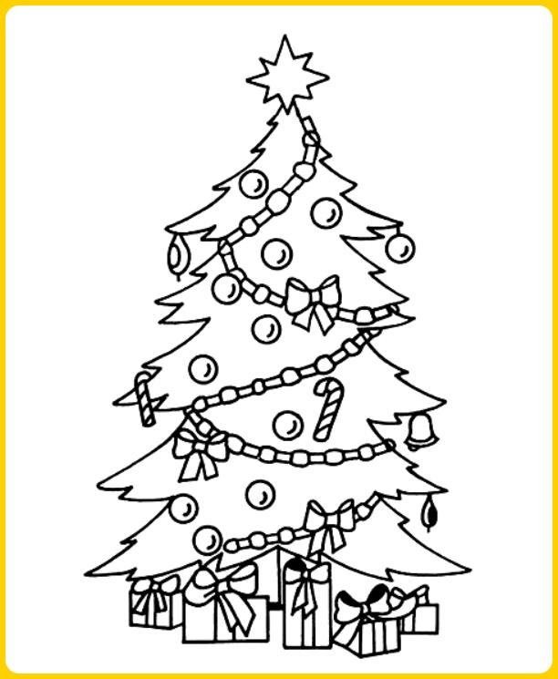 gambar sketsa pohon natal