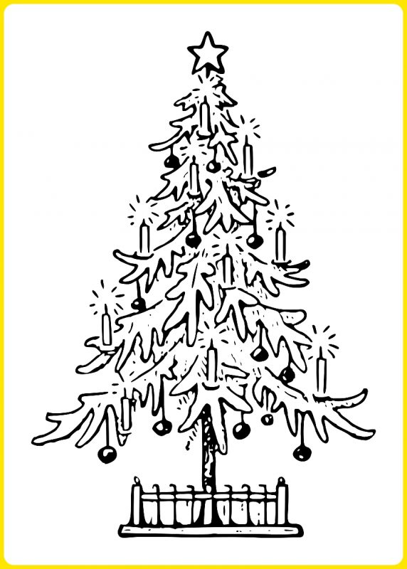 gambar sketsa pohon natal2