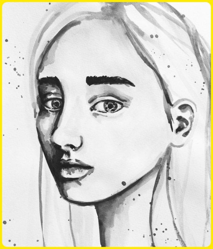 lukisan sketsa wajah tampak samping
