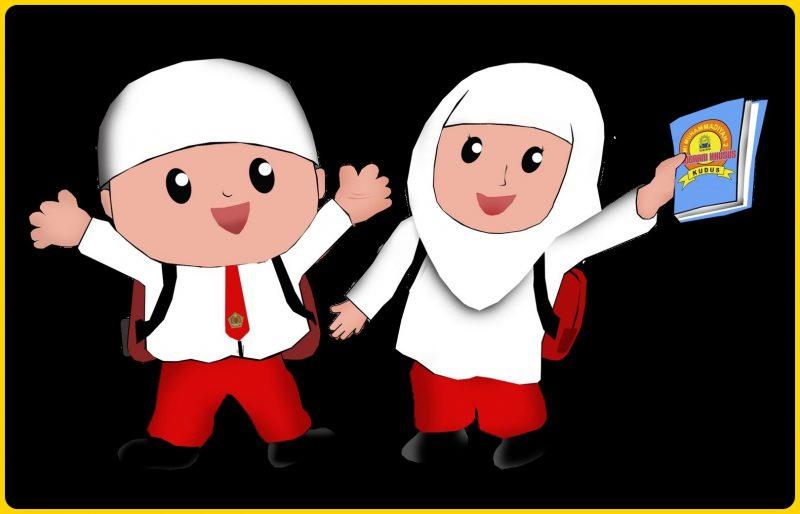 sepasang anak sekolah muslim
