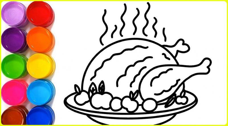 sketsa ayam goreng untuk diwarnai