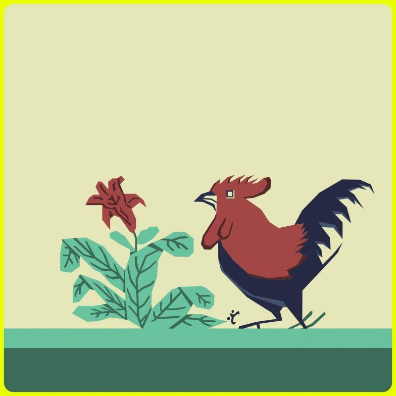 sketsa ayam kartun jago dan tanaman