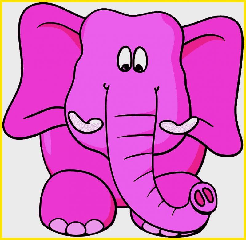 sketsa gajah kartun berwarna ungu