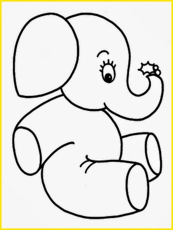 sketsa gajah lucu