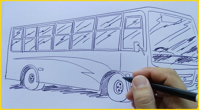sketsa gambar bus big