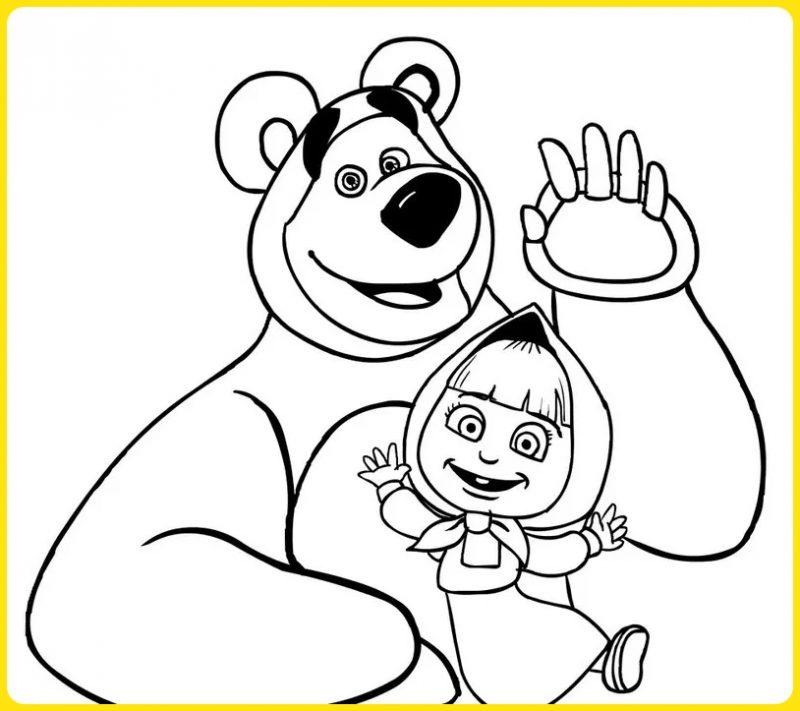 sketsa gambar kartun Masha And The Bear