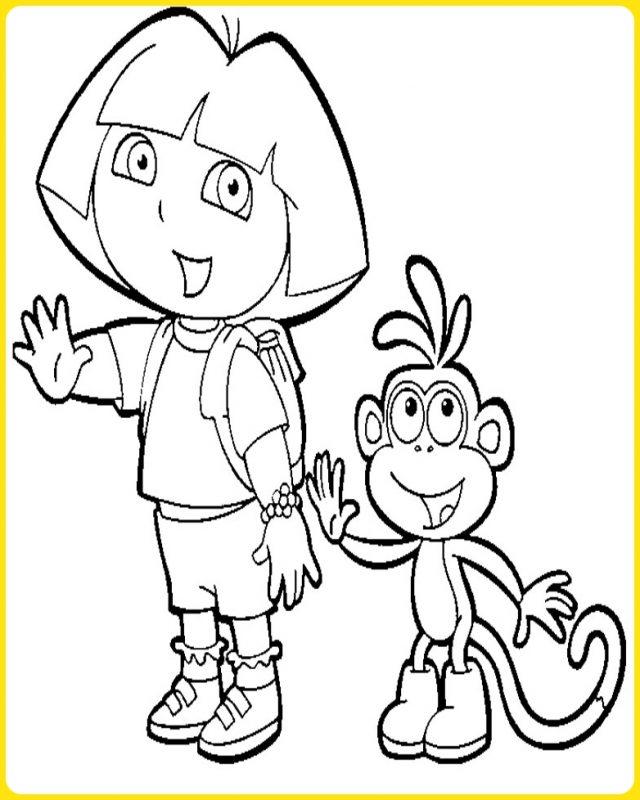 sketsa gambar kartun dora dan boots