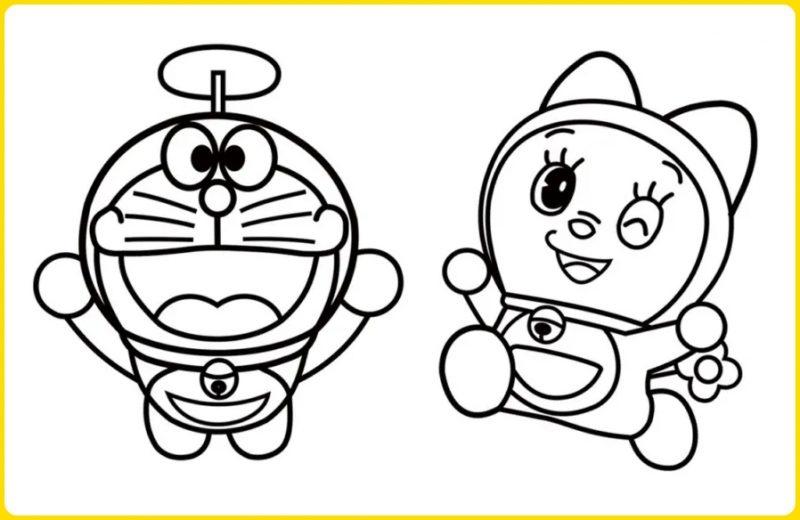 sketsa gambar kartun doraemon dan doremi