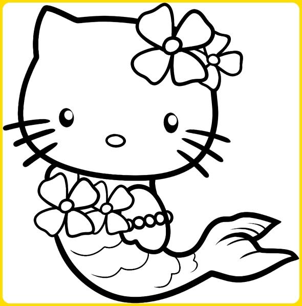 sketsa gambar kartun hello kitty