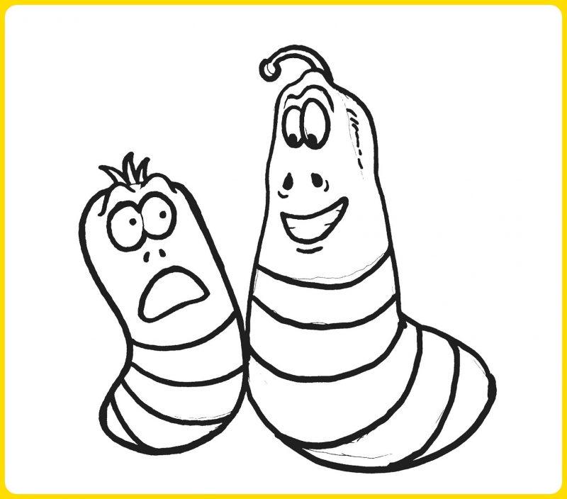 sketsa gambar kartun larva