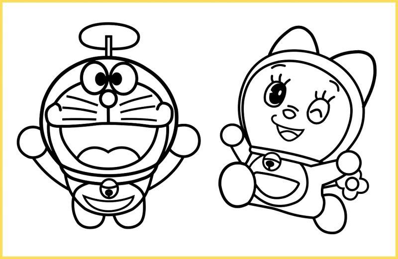 sketsa gambar kartun lucu doraemon dan doremi