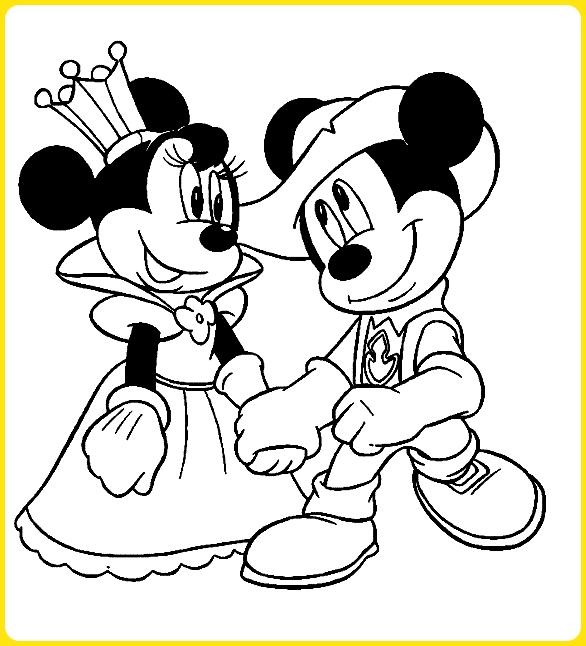sketsa gambar kartun lucu mickey dan minnie mouse