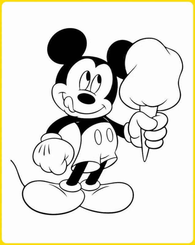 sketsa gambar kartun mickey mouse