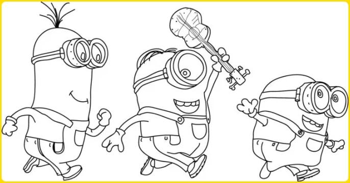 sketsa gambar kartun minion