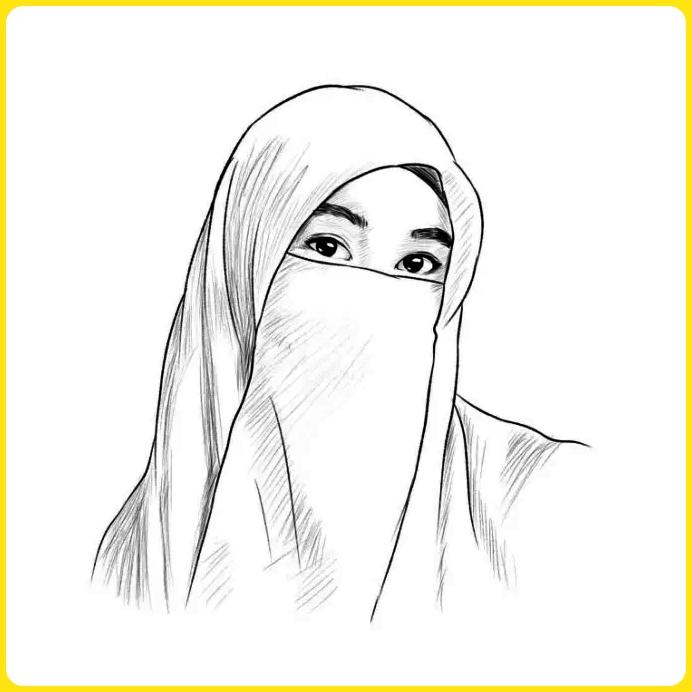 sketsa gambar kartun muslimah bercadar