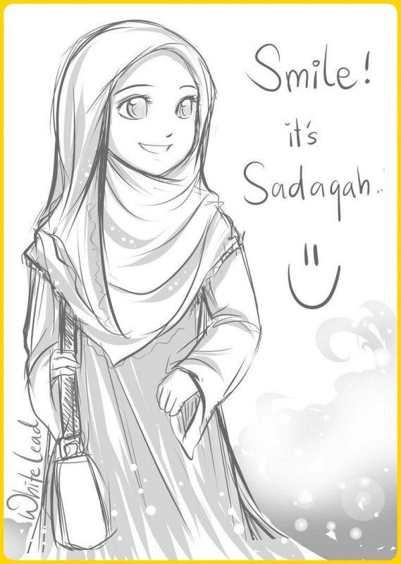 sketsa gambar kartun muslimah cantik