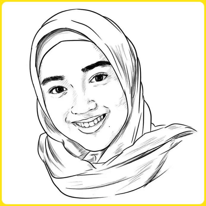 sketsa gambar kartun muslimah wajah berhijab