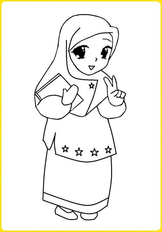 sketsa gambar kartun muslimah