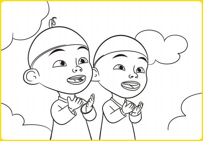 sketsa gambar kartun upin ipin