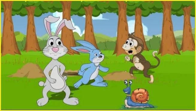 sketsa gambar kelinci dan siput perlombaan