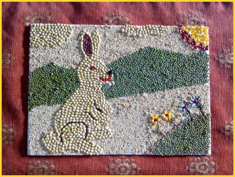 sketsa gambar kelinci untuk kolase dengan background gunung