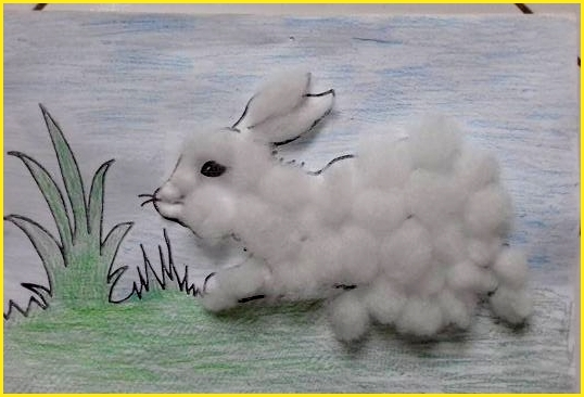 sketsa gambar kelinci untuk mozaik dari kapas