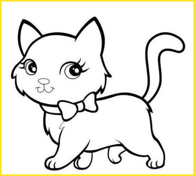 sketsa gambar kucing sederhana berdasi kupu kupu